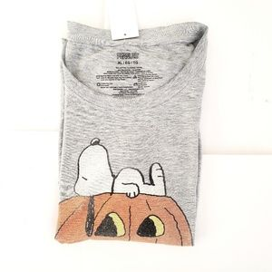 Halloween Peanuts T-shirt Top Snoopy & Pumpkin  XL